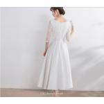 Elegant Medium-length White Evening Dress Scoop-neck Zipper Back Half Sleeve A-line Bridesmaid Dress New Arrival