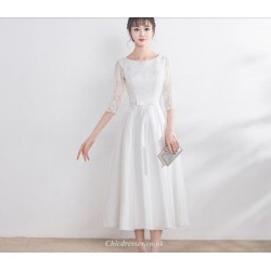 Elegant Medium Length White Evening Dress Scoop Neck Zipper Back Half Sleeve A Line Bridesmaid Dress