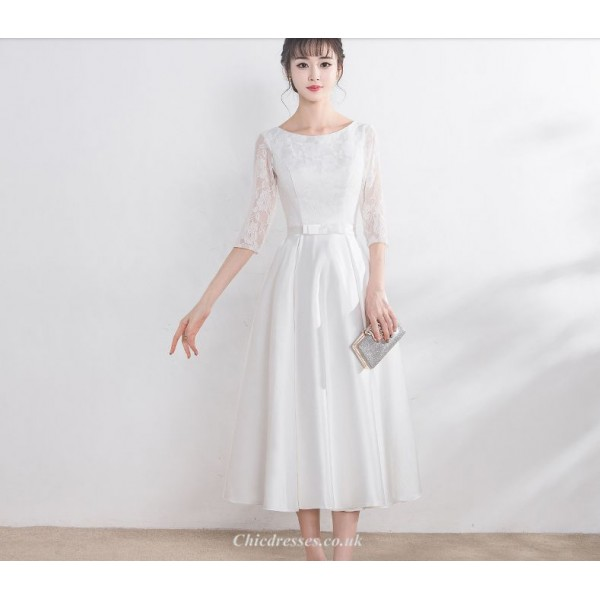 Elegant Medium-length White Evening Dress Scoop-neck Zipper Back Half Sleeve A-line Bridesmaid Dress New Arrival