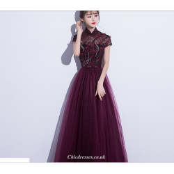 A-line Floor Length Burgundy Tulle Evening Dress Retro Standing Collar Cap Sleeve Modified Cheongsam Skirt