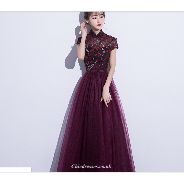 A-line Floor Length Burgundy Tulle Evening Dress Retro Standing Collar Cap Sleeve Modified Cheongsam Skirt New Arrival