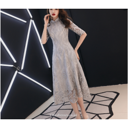 Banquet Gown 2019 New Medium Length Lace Retro Standing Collar Half Sleeves Bridesmaid Dress