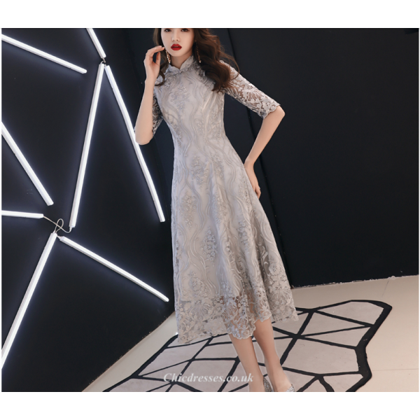 Banquet Gown 2019 New Medium Length Lace Retro Standing Collar Half Sleeves Bridesmaid Dress New Arrival