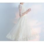 Elegant Medium Length Evening Dress 3/4 Sleeve Boat-neck Lace Skirt Edge With Sequines Bridesmaid Dress New Arrival