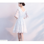 A-line Short White Cocktail Dress V-neck Half Sleeve Party Dress New Arrival