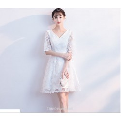 A-line Short White Cocktail Dress V-neck Half Sleeve Party Dress