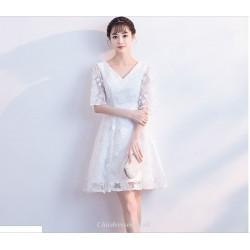 A Line Short White Cocktail Dress V Neck Half Sleeve Party Dress