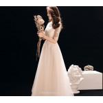 Elegant Floor Length Natural Chiffon Evening Dress Lace Collar Lace-up Half Sleeve Bridesmiad Dress New Arrival