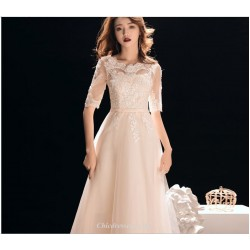 Elegant Floor Length Natural Chiffon Evening Dress Lace Collar Lace-up Half Sleeve Bridesmiad Dress