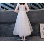 A-line Ankle Length White Chiffon Evening Dress Mandarin Collar Half Sleeve Cheongsam Skirt New Arrival