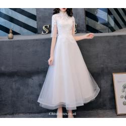 A Line Ankle Length White Chiffon Evening Dress Mandarin Collar Half Sleeve Cheongsam Skirt