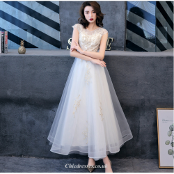 Elegant Ankle Length White Chiffon Evening Dress With Appliques Cap Sleeve A Line Bridesmaid Dress