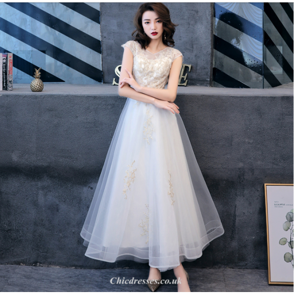 Elegant Ankle Length White Chiffon Evening Dress With Appliques Cap Sleeve A-line Bridesmaid Dress New Arrival