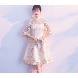 2019 New Exquisite Embroidery Knee Length 3/4 Sleeve Bridesmaid Dress