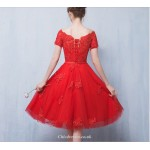 A-line Knee Length Red Organza Dress Off The Shoulder Lace-up Appliques Evening Dress New Arrival