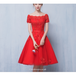 A Line Knee Length Red Organza Dress Off The Shoulder Lace Up Appliques Evening Dress