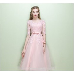 A-line Medium Length Pink Homecoming Dress Lace Half Sleeve Hidden Zipper Back Bridesmaid Dress