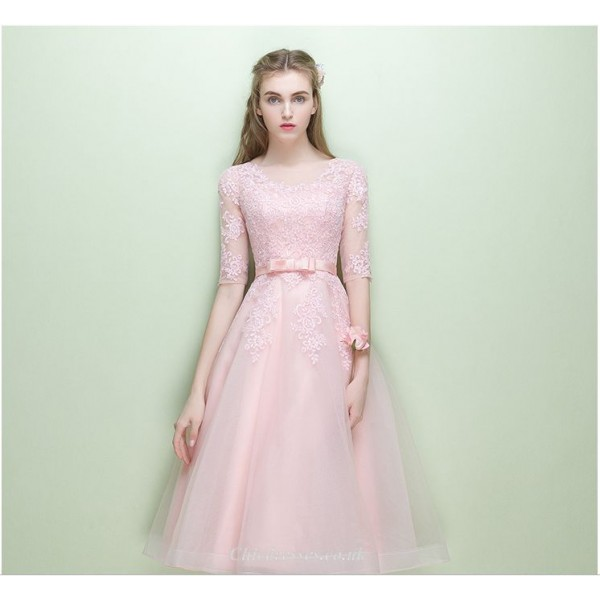 A-line Medium Length Pink Homecoming Dress Lace Half Sleeve Hidden Zipper Back Bridesmaid Dress New Arrival