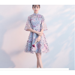 2019 Summer New Bridesmaid Dress Embroidery Floral Knee Length Retro Standing Collar Evening Dress