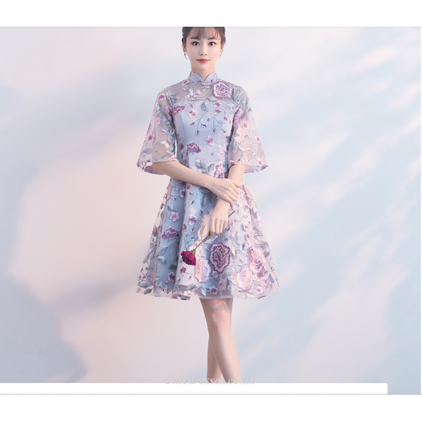 2019 Summer New Bridesmaid Dress Embroidery Floral Knee Length Retro Standing Collar Evening Dress New Arrival