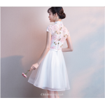 A-line Short/Mini Tulle Cocktail Dess Exquisite Embroidery Cap Sleeve Bridesmaid Dress New Arrival