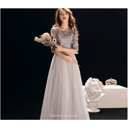 A-line Floor Length Silver Grey Shoulders Evening Dress Half Sleeve Handmade Flowers Lace-up Bridesmaid Dress With Beading