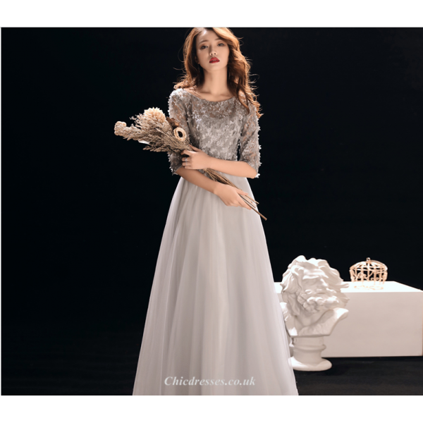 A-line Floor Length Silver Grey Shoulders Evening Dress Half Sleeve Handmade Flowers Lace-up Bridesmaid Dress With Beading New Arrival