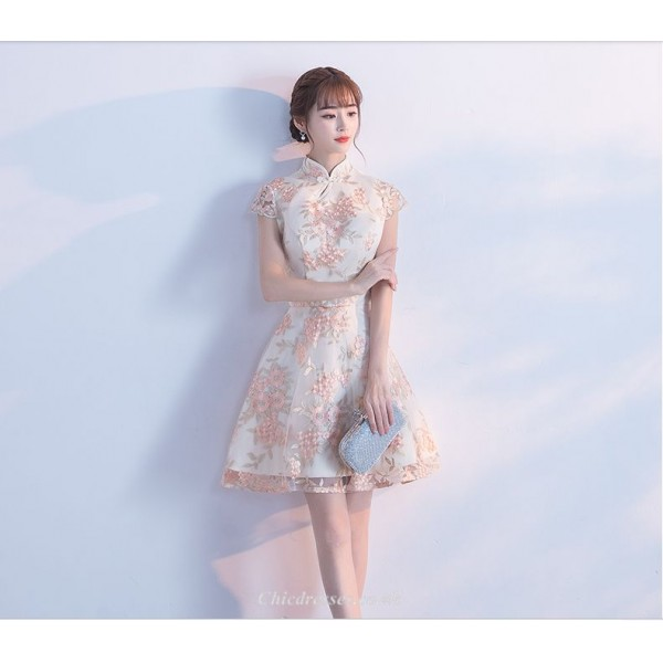 2019 New Fashion Cap Sleeve Exquisite Embroidery Short Evening Dress New Arrival