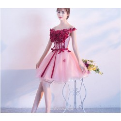 2019 Spring Summer New Bridesmaid Dress Off The Shoulder Princess Pengpeng Skirt With Stereoscopic Flowers