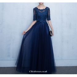 A-line Floor Length Deep Blue Chiffon Evening Dress Lace-up Shor Sleeve Party Dress With Appliques Sashes