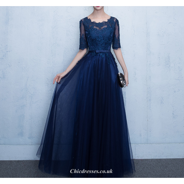 A-line Floor Length Deep Blue Chiffon Evening Dress Lace-up Shor Sleeve Party Dress With Appliques Sashes New Arrival