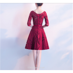 A-line Knee Length Mesh Skirt Lace-up Half Sleeve Short Cocktail/Party Dress New Arrival