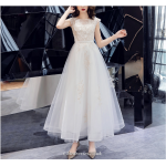 A-line Long White Chiffon Evening Zipper Back Sleeveless Summer Bridesmaid Dress With Appliques New Arrival