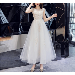 A-line Long White Chiffon Evening Zipper Back Sleeveless Summer Bridesmaid Dress With Appliques