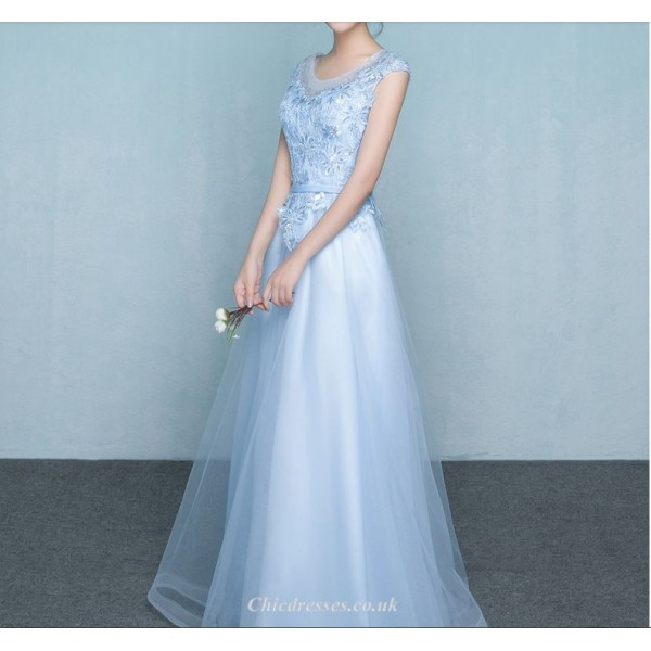 A-line Floor Length Chiffon Evening Dress Lace-up With Appliques Beading Bridesmaid Dress New Arrival