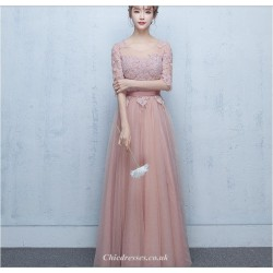 2019 New Spring Summer Long Peach Pink Evening Dress Sheer-neck Lace-up Half Sleeve Bridesmaid Dress With Appliques