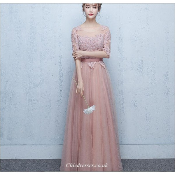 2019 New Spring Summer Long Peach Pink Evening Dress Sheer-neck Lace-up Half Sleeve Bridesmaid Dress With Appliques New Arrival