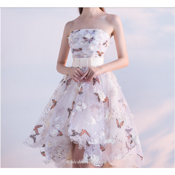 Asymmetrical Strapless Front Short Rear Length Party Dress With 3D Stereo Flower Butterfly New Arrival