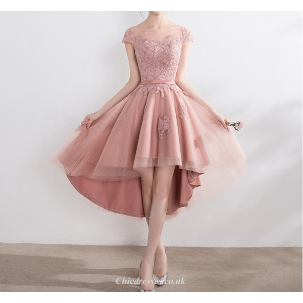 Asymmetrical Semi-transparent Net Collar Bridesmaid Dress Fashion Front Short Rear Length Lace-up Party Dress With Appliques New Arrival