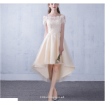 Fashion Front Short Rear Length Evening Dress Lace-up Short Sleeve Party Bridesmaid Dress New Arrival