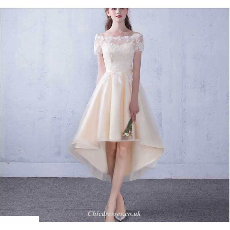 Fashion Front Short Rear Length Evening Dress Lace-up