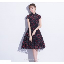 Fashion A-line Knee Length Black Fragments Bridesmaid Dress