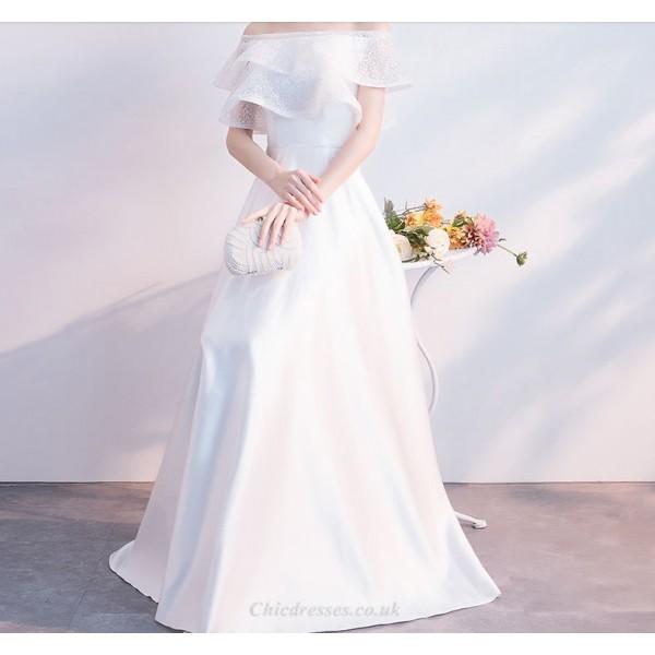 Elegant Floor Length White Satin Evening Dress Lotus Leaf Hem Hidden Zipper Off The Shoulder Party Dress New Arrival