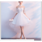Sexy Front Short Rear Length White Tulle/Chiffon Evening Dress Fashion Raglan Sleeve Bridesmaid Dress New Arrival