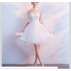 Sexy Front Short Rear Length White Tulle/Chiffon Evening Dress Fashion Raglan Sleeve Bridesmaid Dress