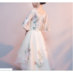 Elegant Front Short Rear Length Evening Dress Exquisite Embroidery Half Sleeve Prom Dress New Arrival