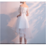 2019 New White Lace Tulle Evening Dress Off The Shoulder Front Short Rear Length Party Dress New Arrival