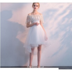 2019 New White Lace Tulle Evening Dress Off The Shoulder Front Short Rear Length Party Dress