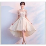 Sexy Yarn Net Collar Champagne Color Evening Dress Front Short Rear Length Raglan Sleeve Bridesmaid Dress New Arrival