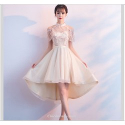 Sexy Yarn Net Collar Champagne Color Evening Dress Front Short Rear Length Raglan Sleeve Bridesmaid Dress